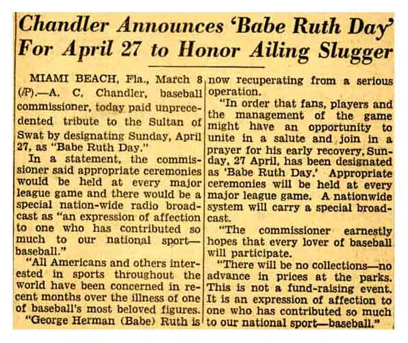 babe ruth newspaper article Little does anyone then realize that, over 100 years later, the most elite collectors of the hobby that ruth built will battle it out over his red sox original photographs just several short weeks ago, in fact, a 1915 portrait example sold at auction for more than $40,000.