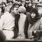 Babe Ruth and Claire Kissing at a Game