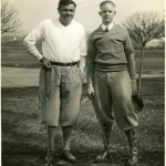 Babe Ruth Posing on Golf Course With a Friend