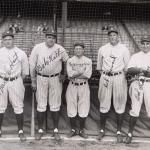 Babe Ruth, Waite Hoyt, Bob Meusel, Miller Huggins