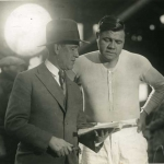 Babe Ruth Looking Over Script