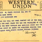Chicago Tribune Telegram to Claire Ruth