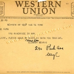 Eleanor Gehrig Telegram to Claire Ruth