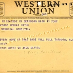 Ford Motor Company Telegram to Claire Ruth