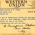 Red Caps Telegram to Claire Ruth