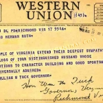 Virginia Governor Telegram to Claire Ruth