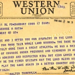 Walter Trumbull Telegram to Claire Ruth