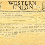 Connie Mack Telegram to Claire Ruth