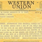 Dodgers Telegram to Claire Ruth
