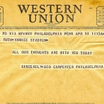 Phillies Telegram to Claire Ruth