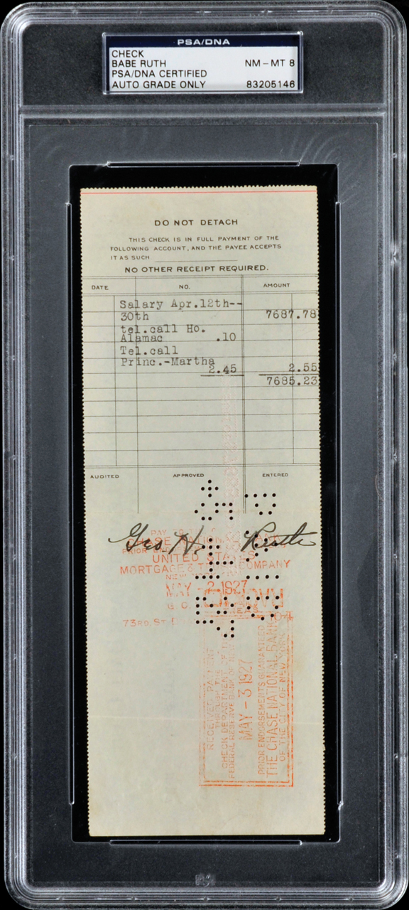 Babe Ruth 1927 Payroll Check