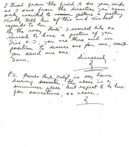 Ty Cobb Letter to Babe Ruth