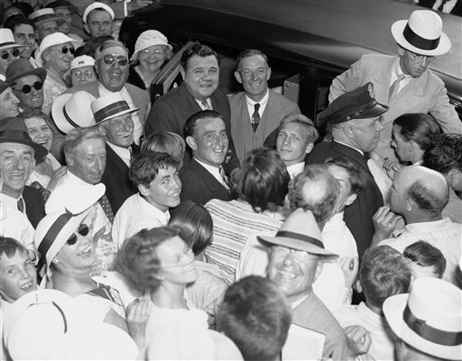 Babe Ruth with fans in St. Petersburgh, FL