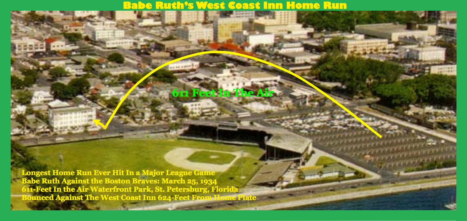 West Coast Inn Babe Ruth Home Run Graphic - Al Lang Field