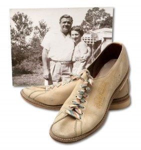 Babe Ruth signed bowling shoes