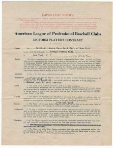 Babe Ruth 1922 Contract With Yankees