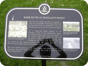 Hanlan Point Babe Ruth Plaque