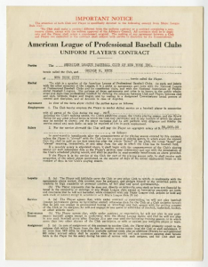 1934 Babe Ruth Yankees Contract