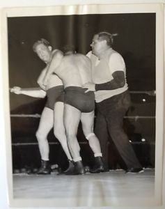 Babe Ruth as a wrestling referee in 1945