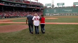 Tom Stevens and Mandy Stevens Dandro escorting Julia Ruth Stevens to the field.