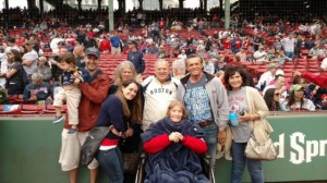 Julia Ruth Stevens with friends and family members, celebrating her 100th at Fenway park